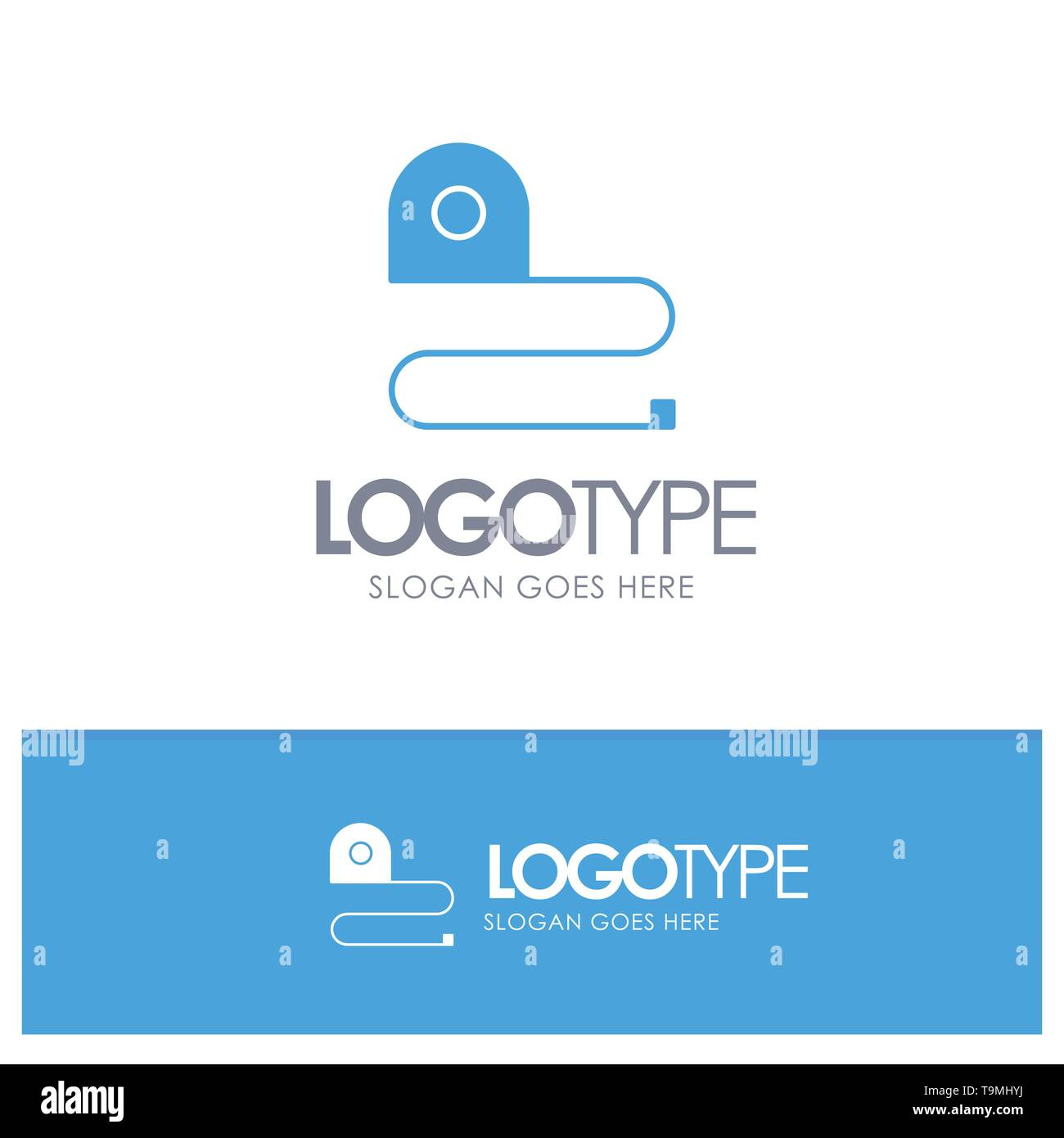 Construction, Measuring, Scale, Tape Blue Solid Logo with place for tagline - Stock Image