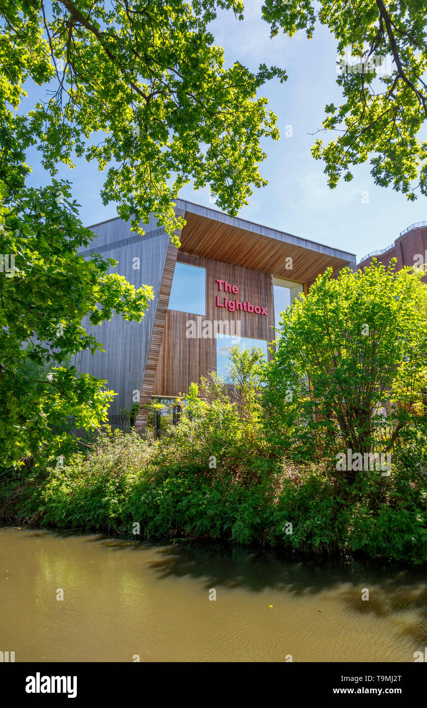 The Lightbox in Woking town centre, a gallery, museum and exhibition space civic amenity modern building on the banks of the Basingstoke Canal Stock Photo