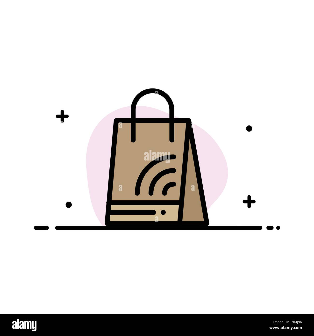 Bag, Handbag, Wifi, Shopping  Business Flat Line Filled Icon Vector Banner Template - Stock Image