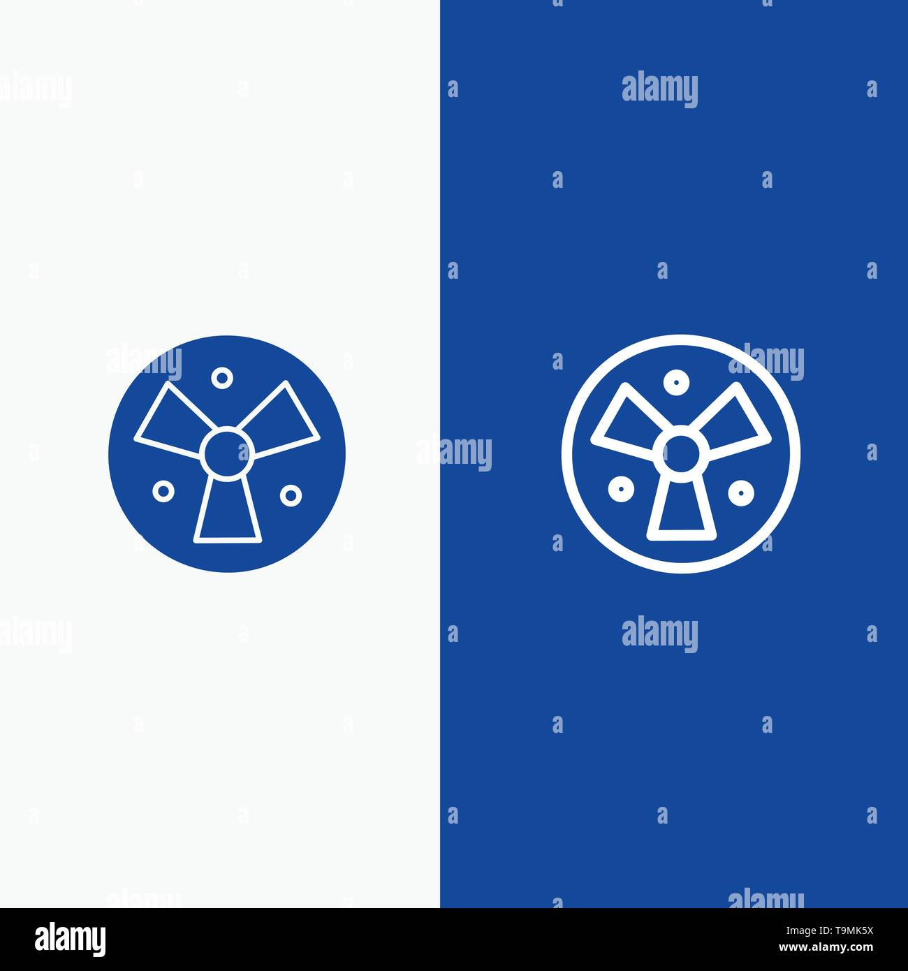 Radiation, Warning, Medical, Fan Line and Glyph Solid icon Blue banner Line and Glyph Solid icon Blue banner - Stock Image