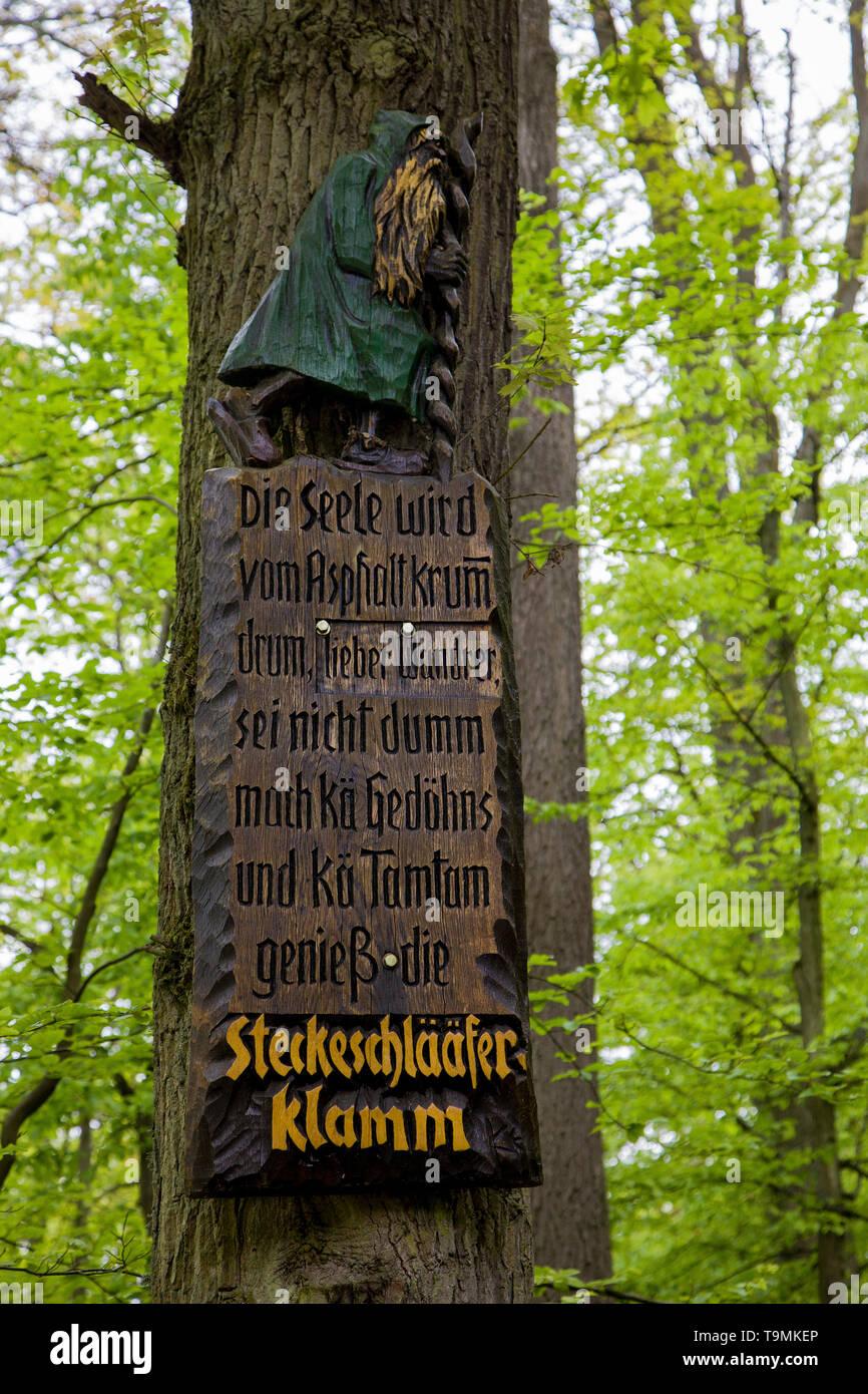 Consonance of words at entrance to the hiker trail Steckeschlääfer-Klamm, Binger forest, Bingen on the Rhine, Rhineland-Palatinate, Germany Stock Photo