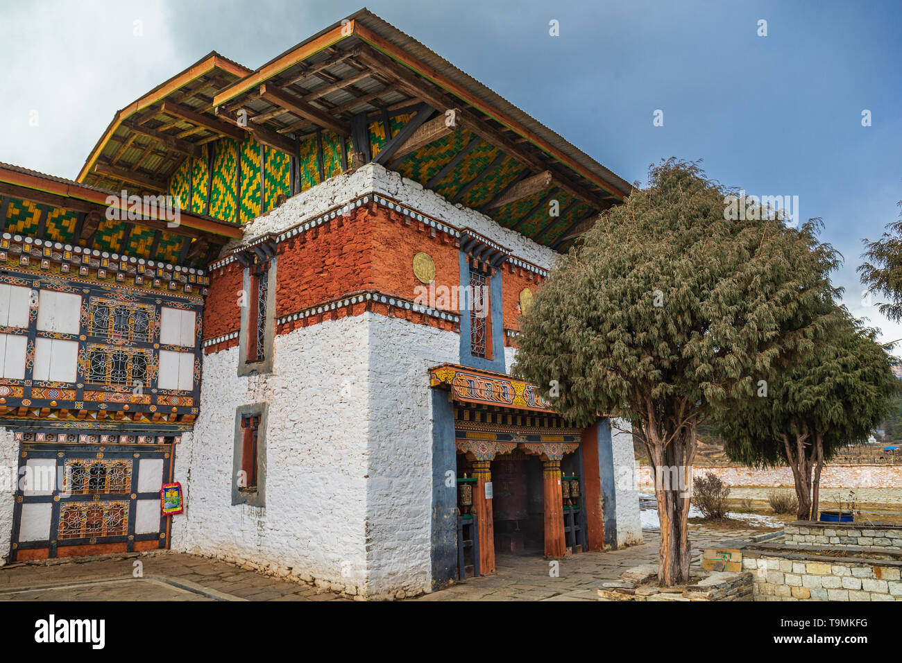 The Jampey Lhakhang temple in Bumthang, Bhutan is from the 7th century - Stock Image