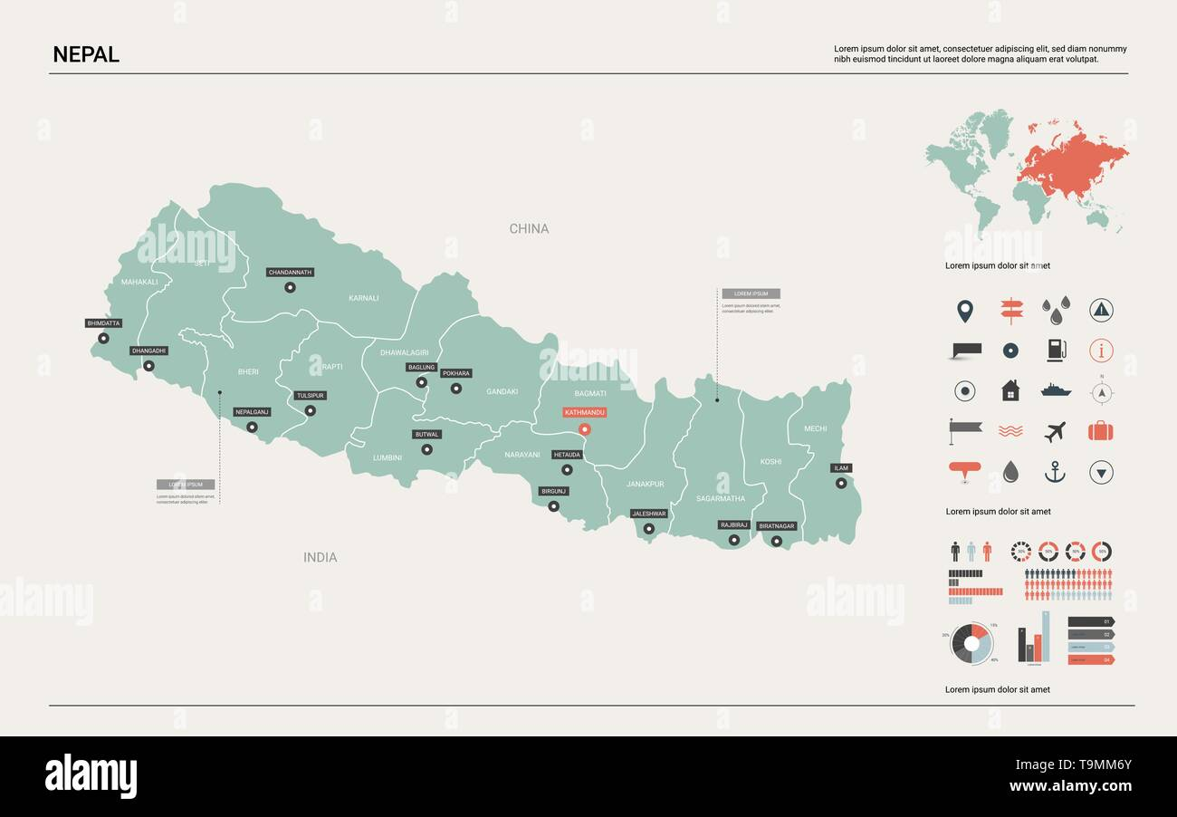 Image of: Vector Map Of Nepal Country Map With Division Cities And Capital Kathmandu Political Map World Map Infographic Elements Stock Vector Image Art Alamy