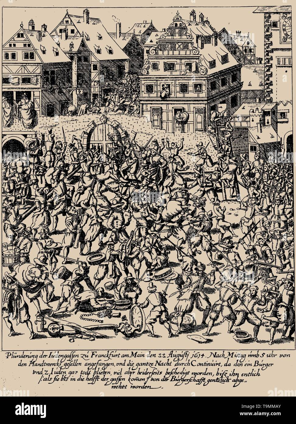 The Fettmilch Rising. The plundering of the Judengasse in Frankfurt on August 22, 1614. Museum: PRIVATE COLLECTION. Author: GEORG KELLER. - Stock Image