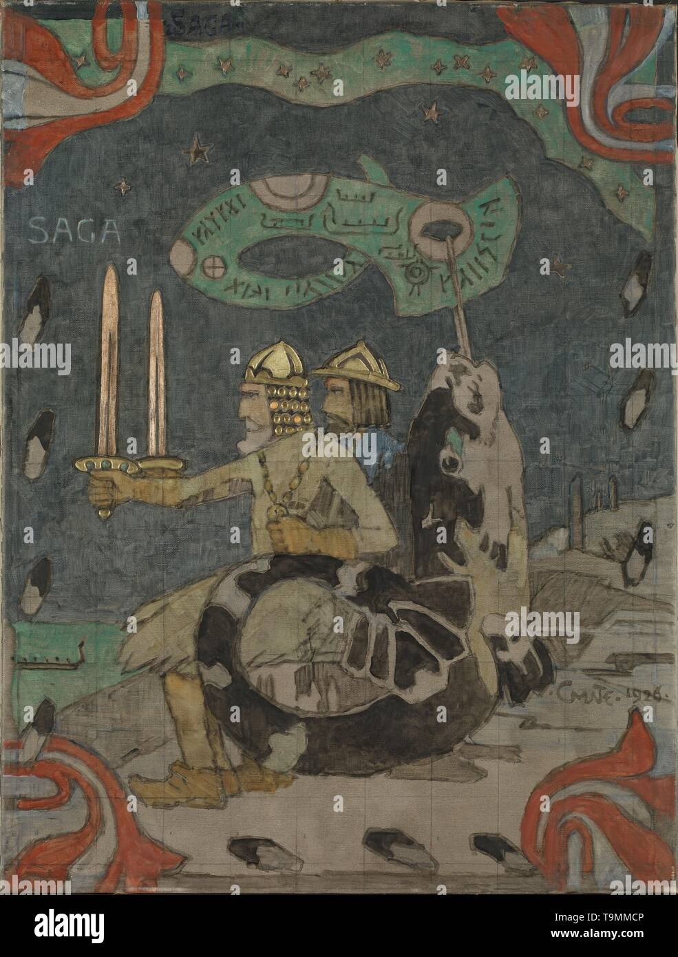 Saga. Museum: Nasjonalmuseet for Kunst, Arkitektur og Design, Oslo. Author: Gerhard Munthe. - Stock Image