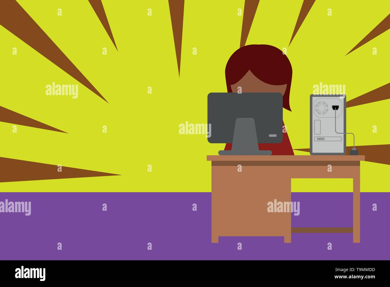 Young female working office sitting desktop computer office monitor photo Design business Empty copy space text for Ad website promotion isolated Bann - Stock Image