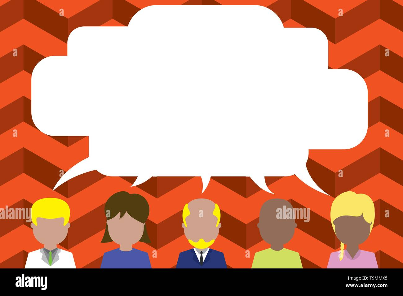 Five different races persons sharing blank speech bubble. People talking Design business concept Empty template copy space text for Ad website isolate - Stock Image