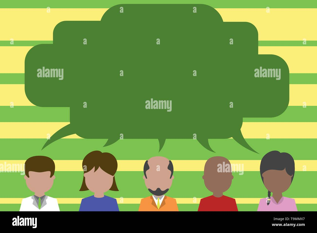 Five different races persons sharing blank speech bubble. People talking Design business concept Empty copy space modern abstract background - Stock Image