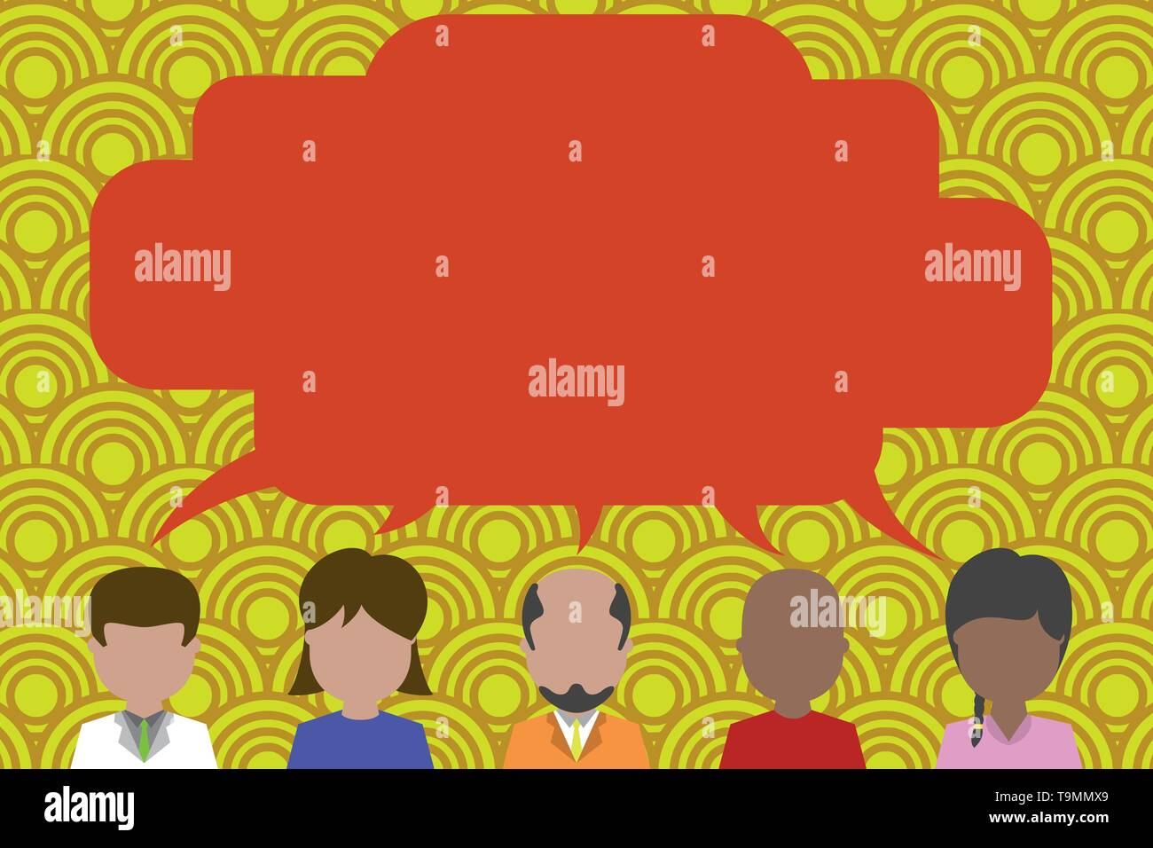 Five different races persons sharing blank speech bubble. People talking Design business concept Empty copy text for Web banners promotional material  - Stock Image