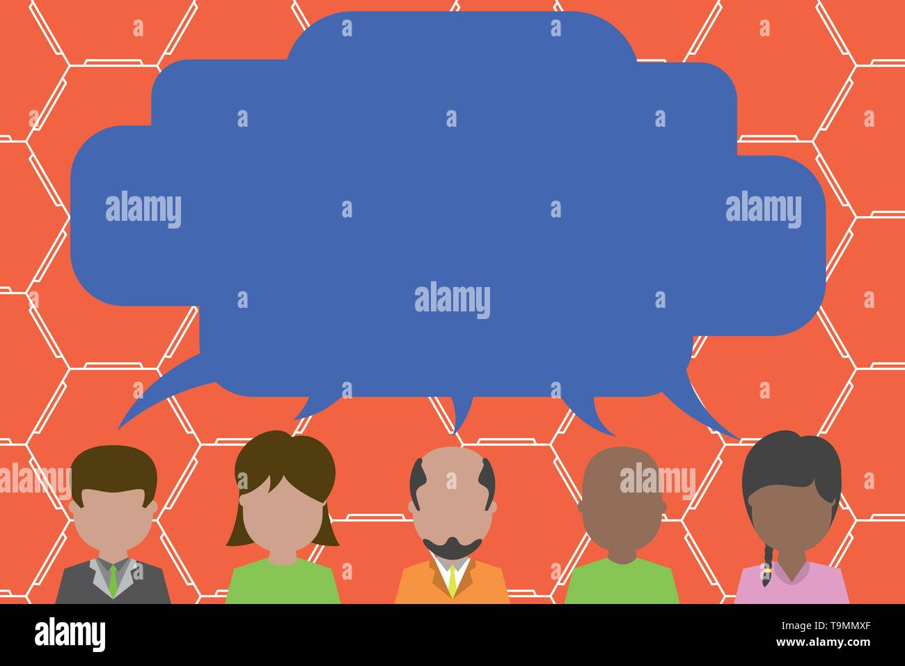 Five different races persons sharing blank speech bubble. People talking Design business concept. Business ad for website and promotion banners. empty - Stock Image