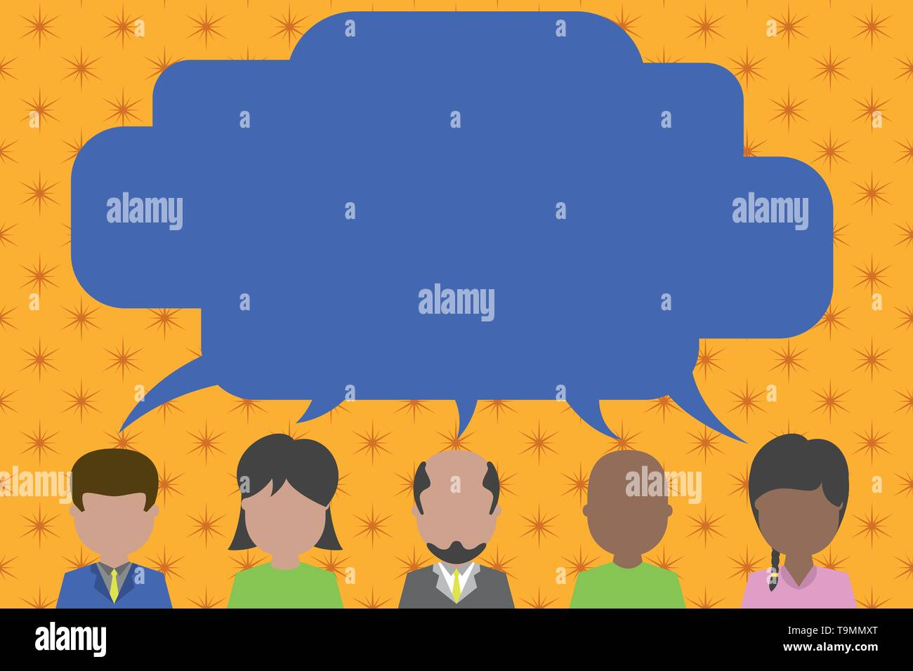Five different races persons sharing blank speech bubble. People talking Copy Space design Empty template text for Ad, promotion, poster, flyer, web b - Stock Image