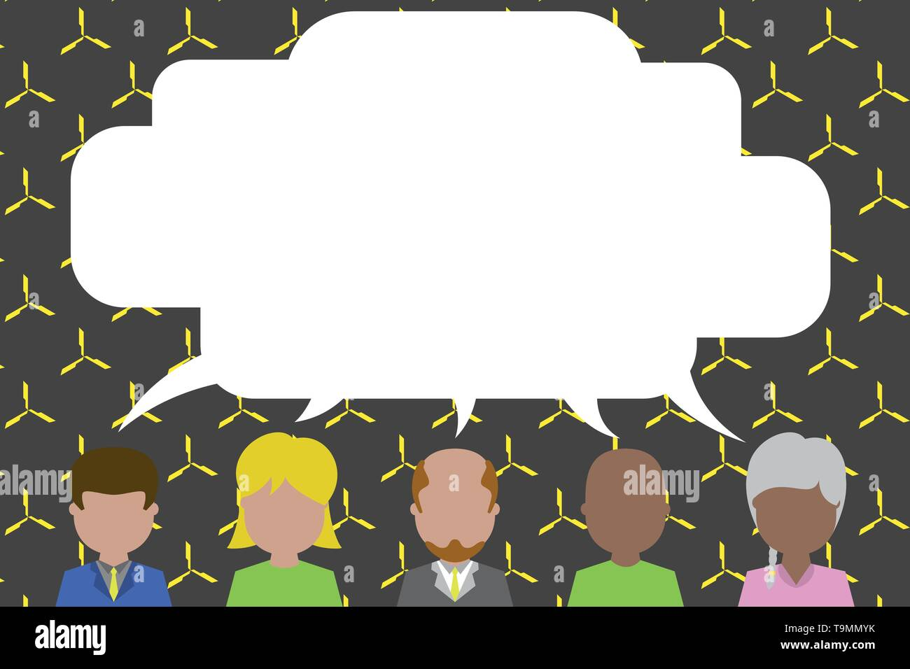 Five different races persons sharing blank speech bubble. People talking Design business Empty copy space text for Ad website promotion isolated Banne - Stock Image