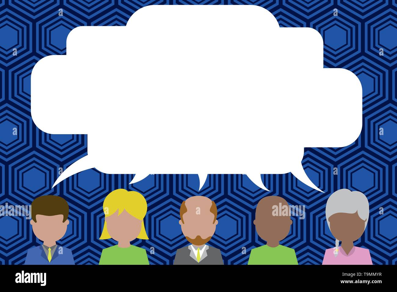 Five different races persons sharing blank speech bubble. People talking Business concept Empty template copy space isolated Posters coupons promotion - Stock Image