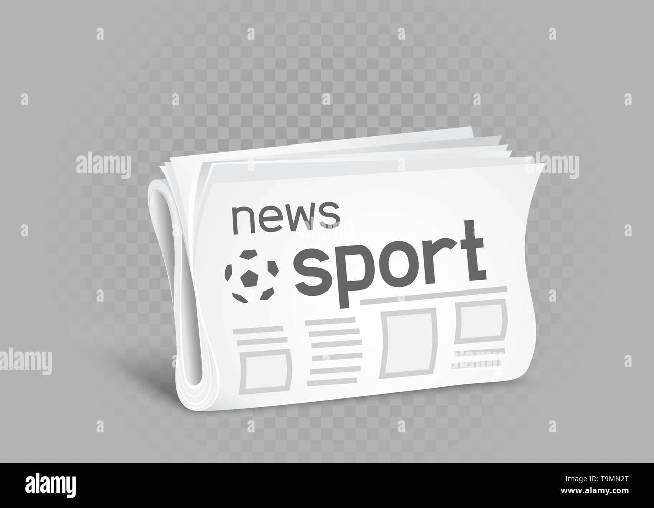 Sport newspaper on gray transparent background. Sports press news - Stock Image
