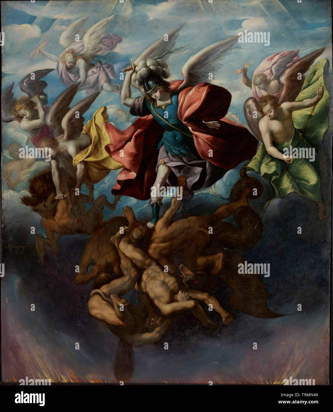 The Fall of the Rebel Angels. Museum: The Hispanic Society of America, New York. Author: Sebastián López de Arteaga. - Stock Image