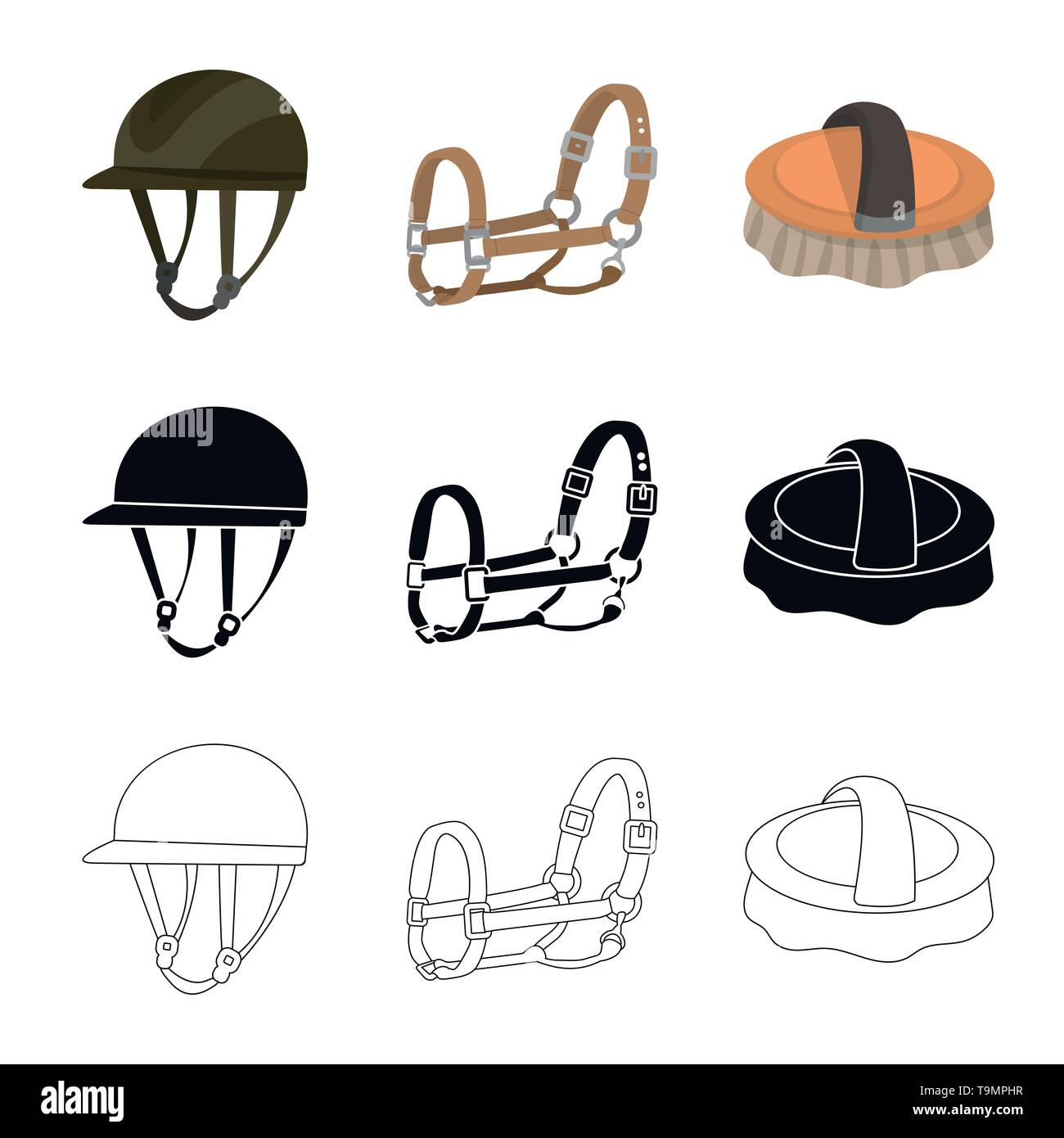 Isolated object of equipment and riding logo. Collection of equipment and competition stock symbol for web. - Stock Image