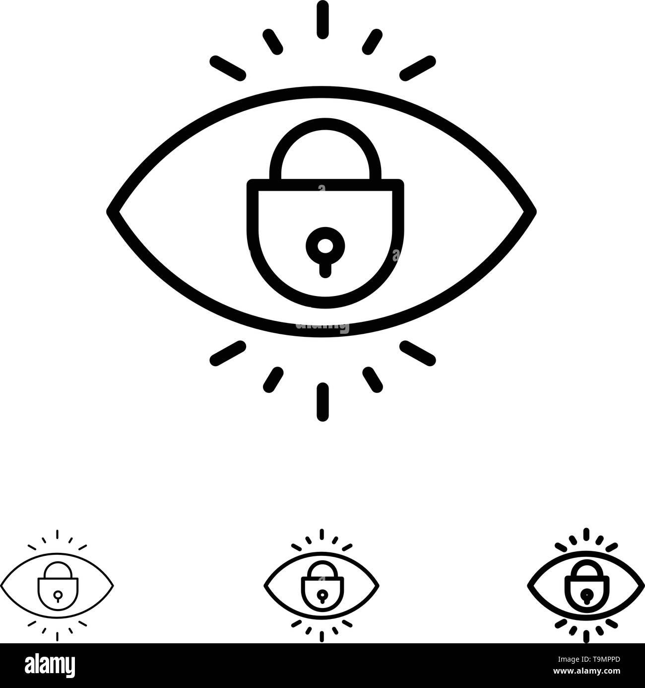 Eye, Internet, Security, Lock Bold and thin black line icon set - Stock Image