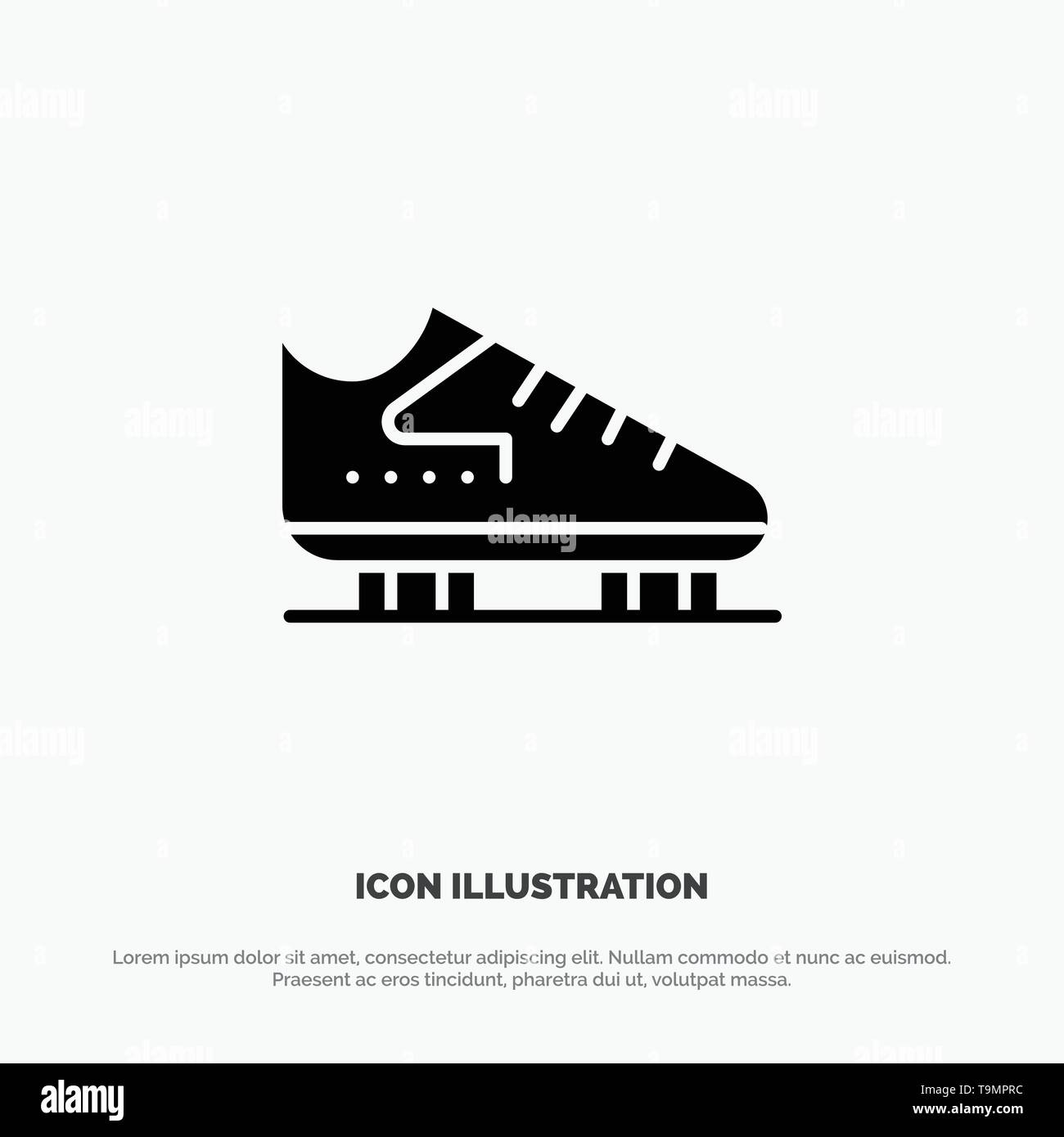 Boot, Ice, Skate, Skates, Skating solid Glyph Icon vector - Stock Image