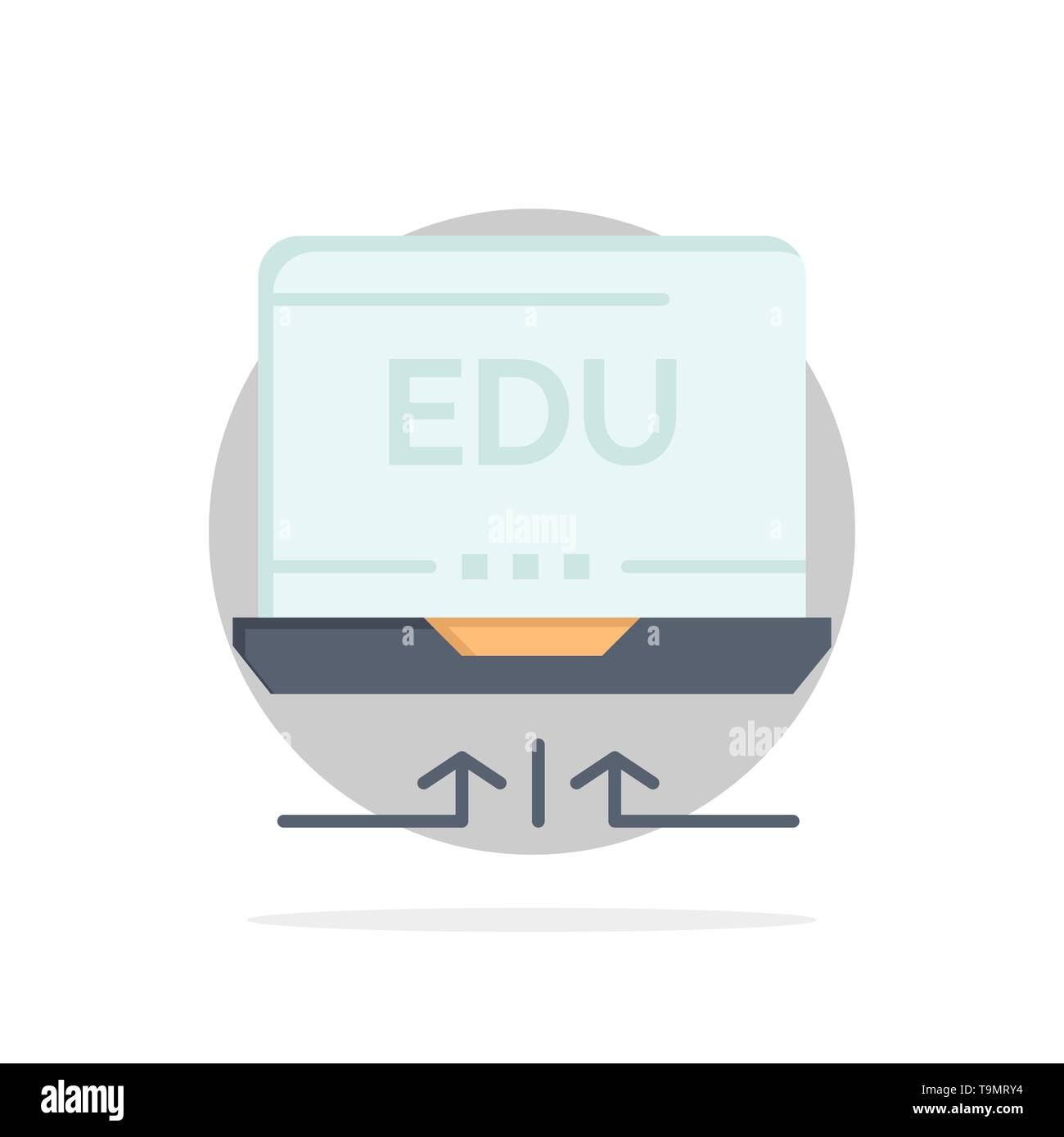 Laptop, Hardware, Arrow, Education Abstract Circle Background Flat color Icon - Stock Image