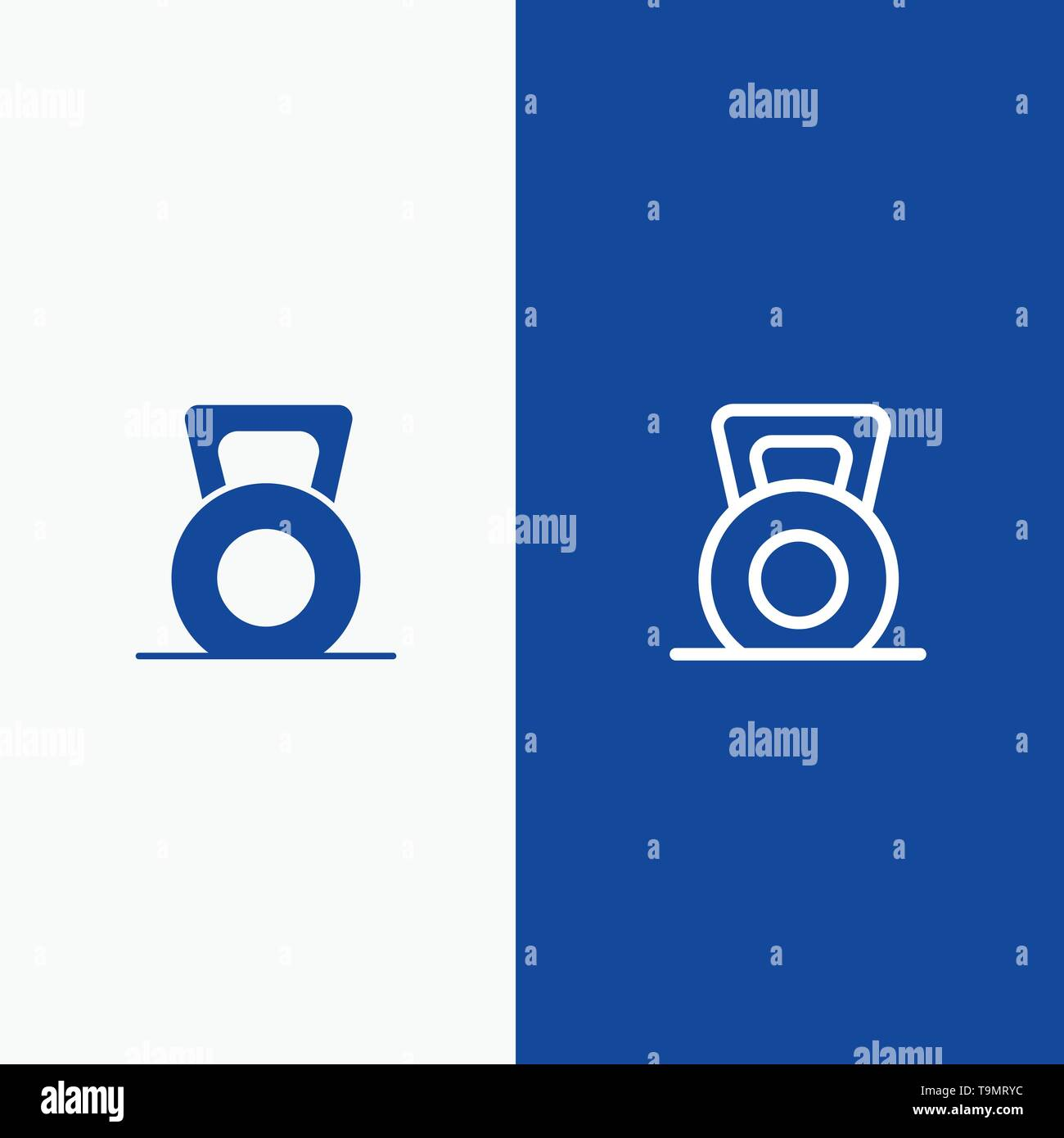 Dumbbell, Fitness, Gym, Lift Line and Glyph Solid icon Blue banner Line and Glyph Solid icon Blue banner - Stock Image