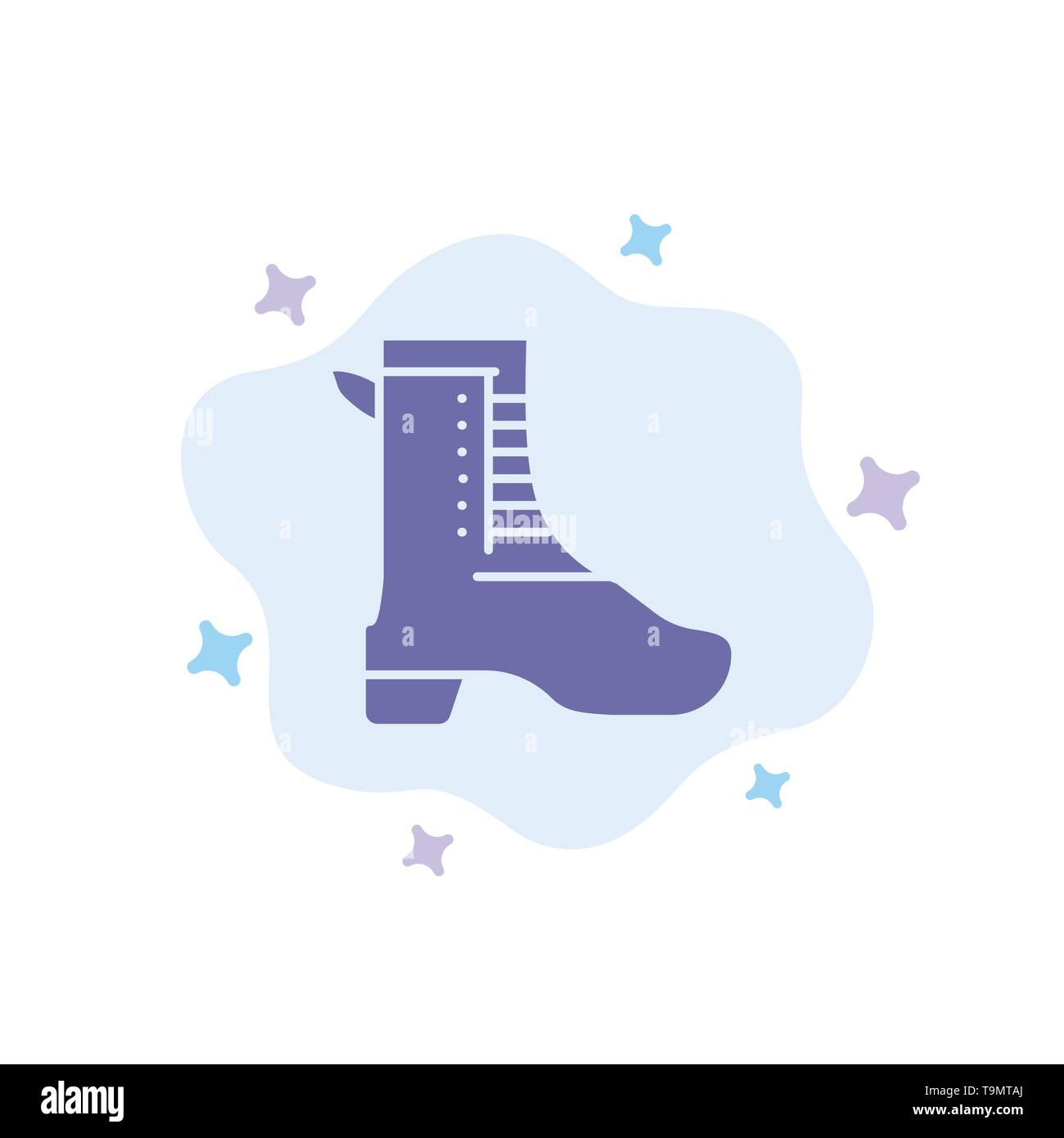 Activity, Running, Shoe, Spring Blue Icon on Abstract Cloud Background - Stock Image