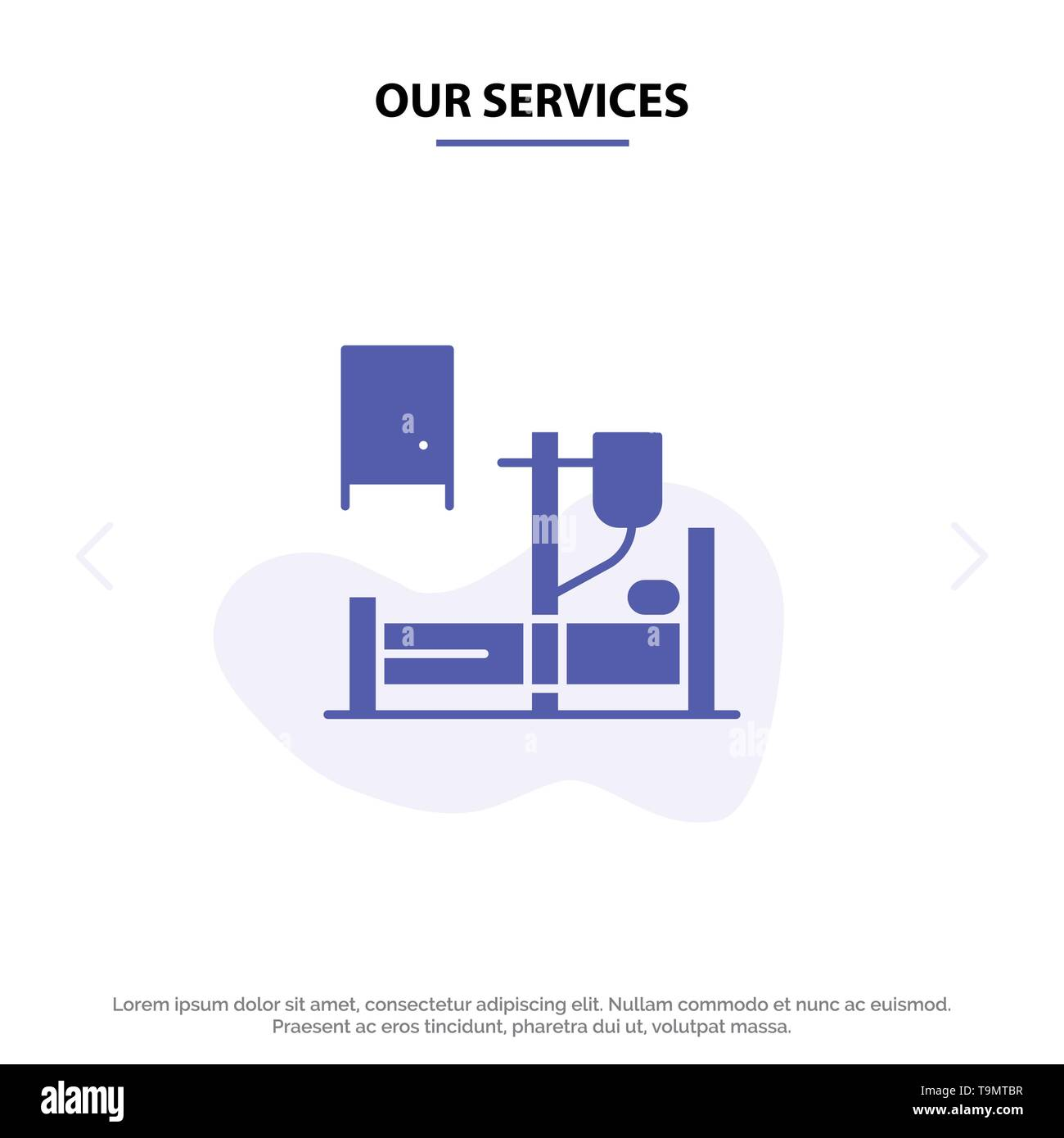 Our Services Medical, Drip, Medicine, Hospital Solid Glyph Icon Web card Template - Stock Image