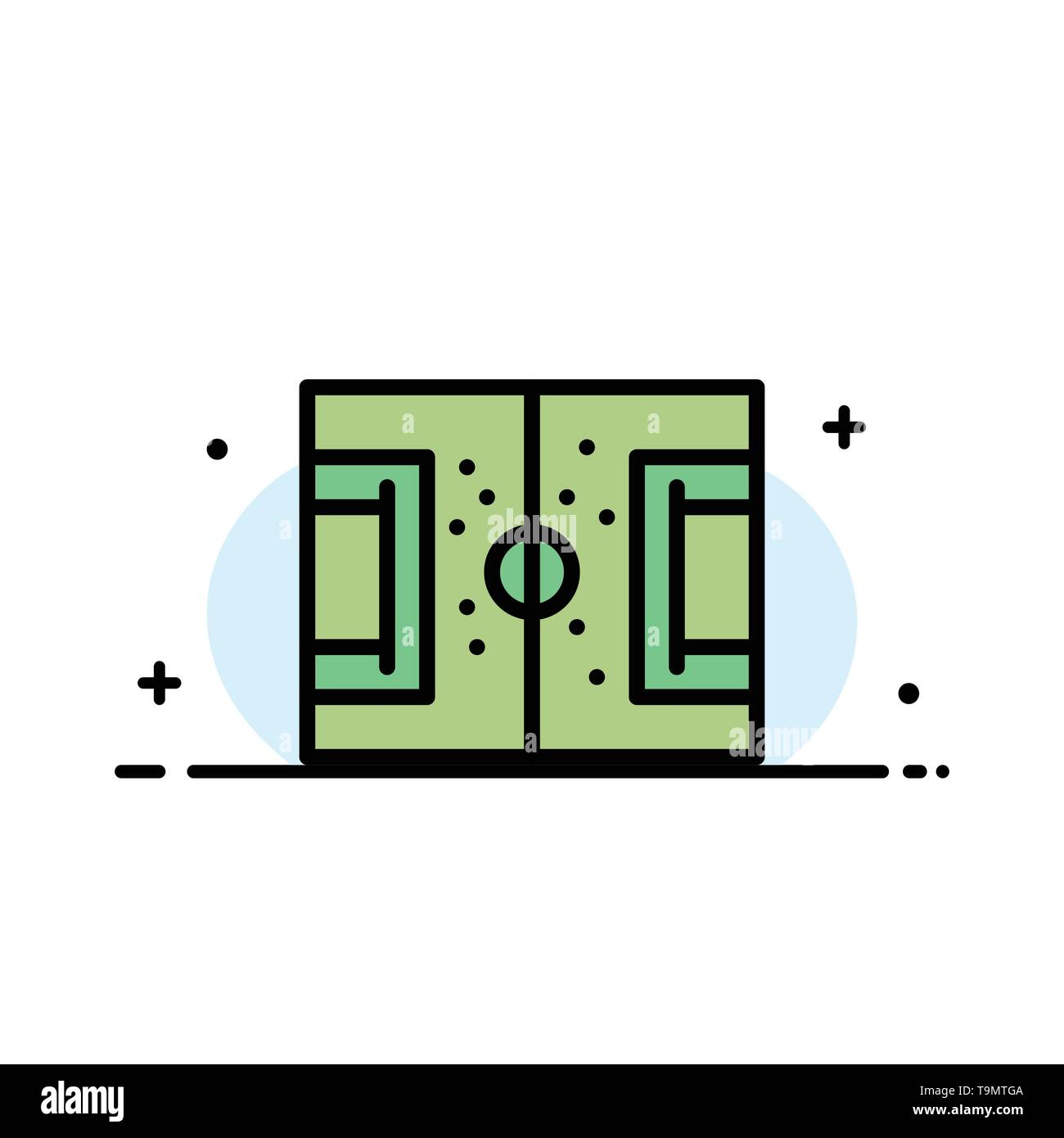 Field, Football, Game, Pitch, Soccer  Business Flat Line Filled Icon Vector Banner Template - Stock Image