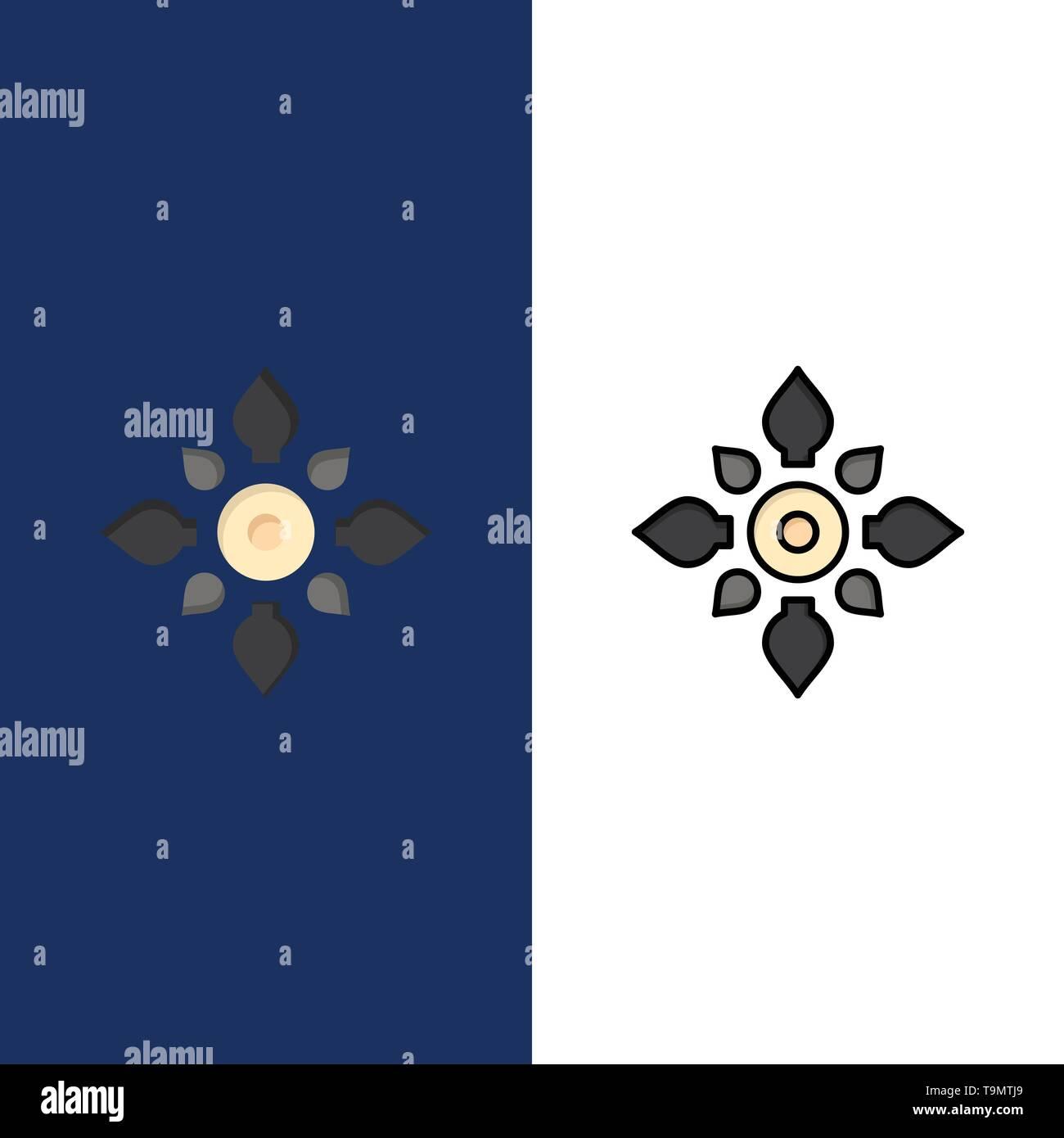 Celebrate, Decorate, Decoration, Diwali, Hindu, Holi  Icons. Flat and Line Filled Icon Set Vector Blue Background - Stock Image