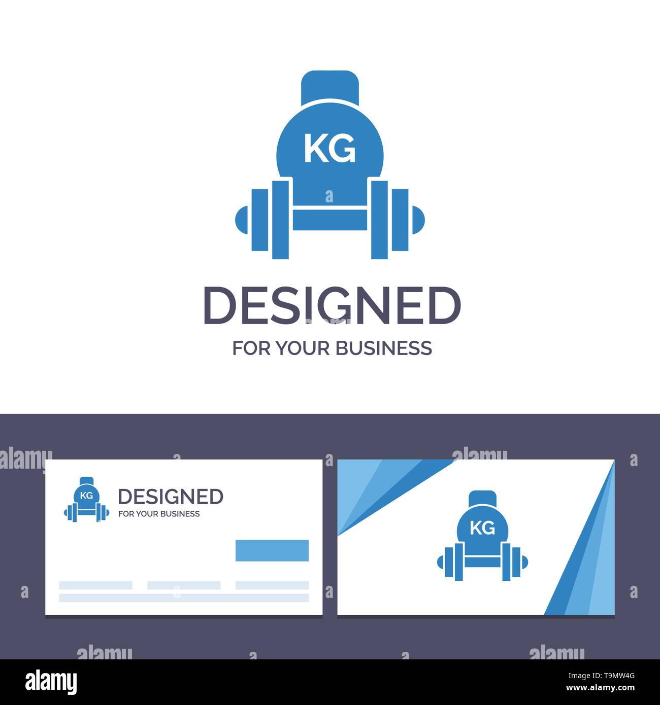 Creative Business Card and Logo template Barbell, Dumbbell, Equipment, Kettle bell, Weight Vector Illustration - Stock Image