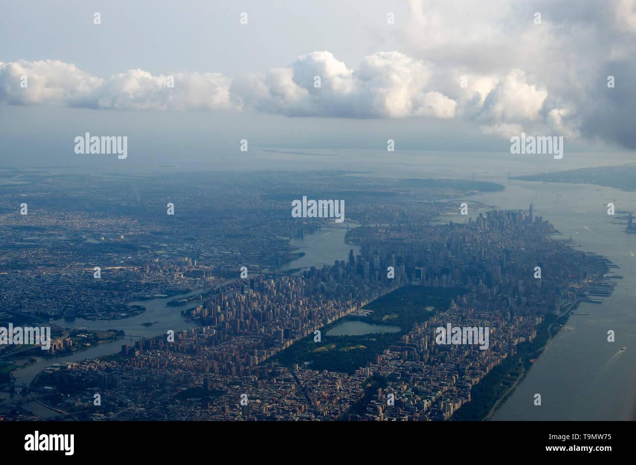 aerial view of Manhattan, New York City Stock Photo