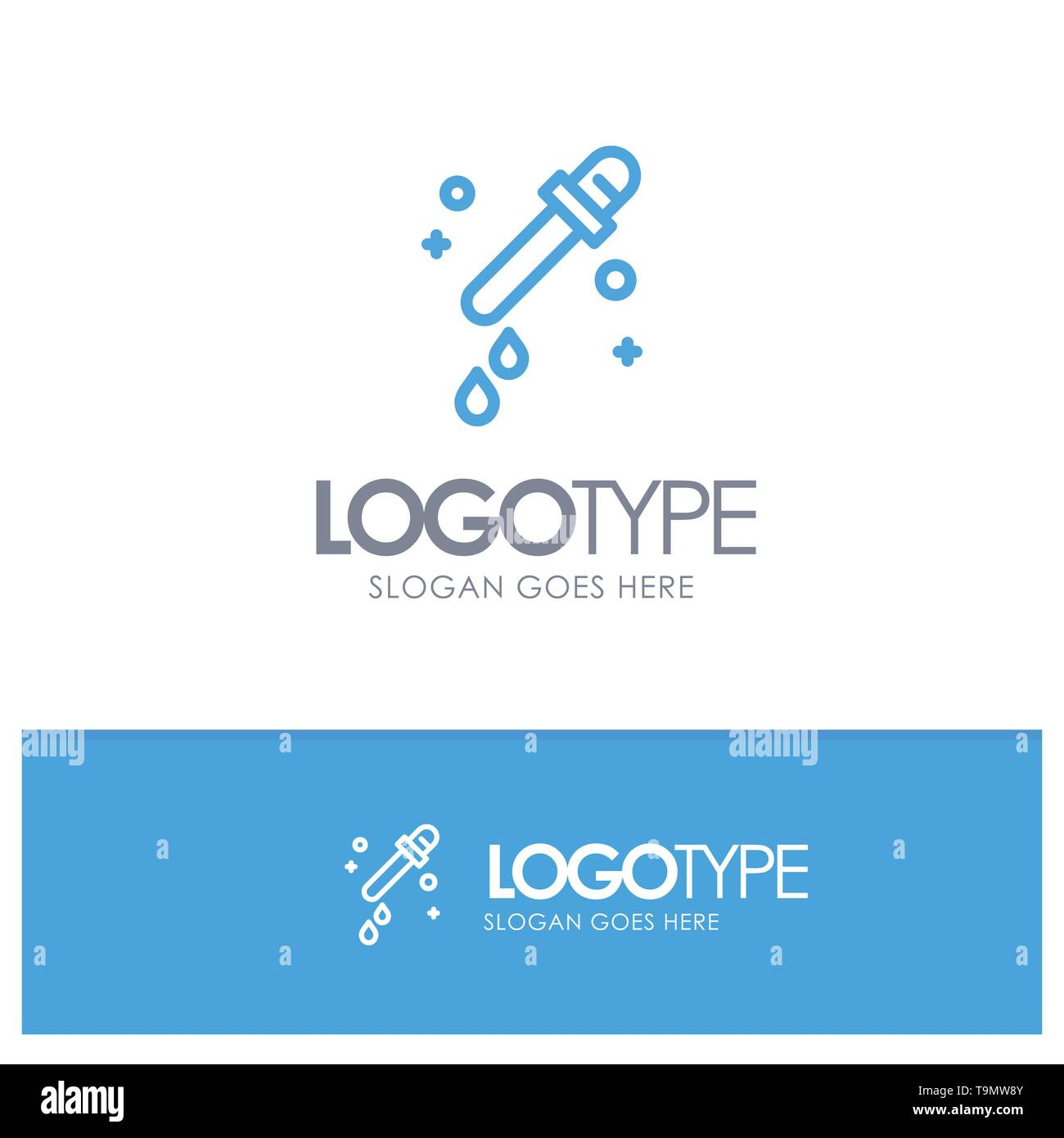 Dropper, Pipette, Science Blue outLine Logo with place for tagline - Stock Image