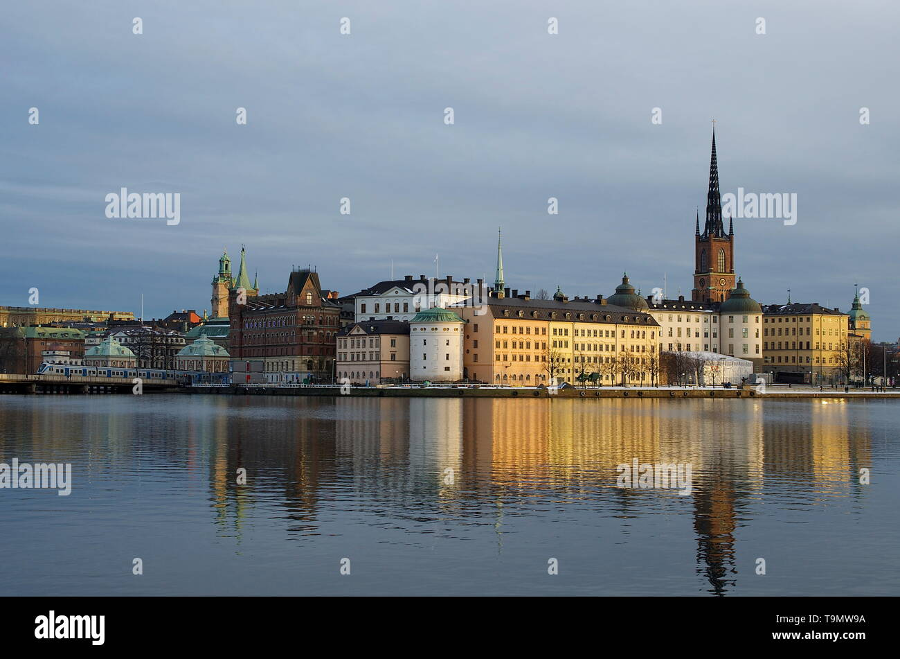water reflections, historic city of Stockholm, Sweden, Gamla Stan - Stock Image