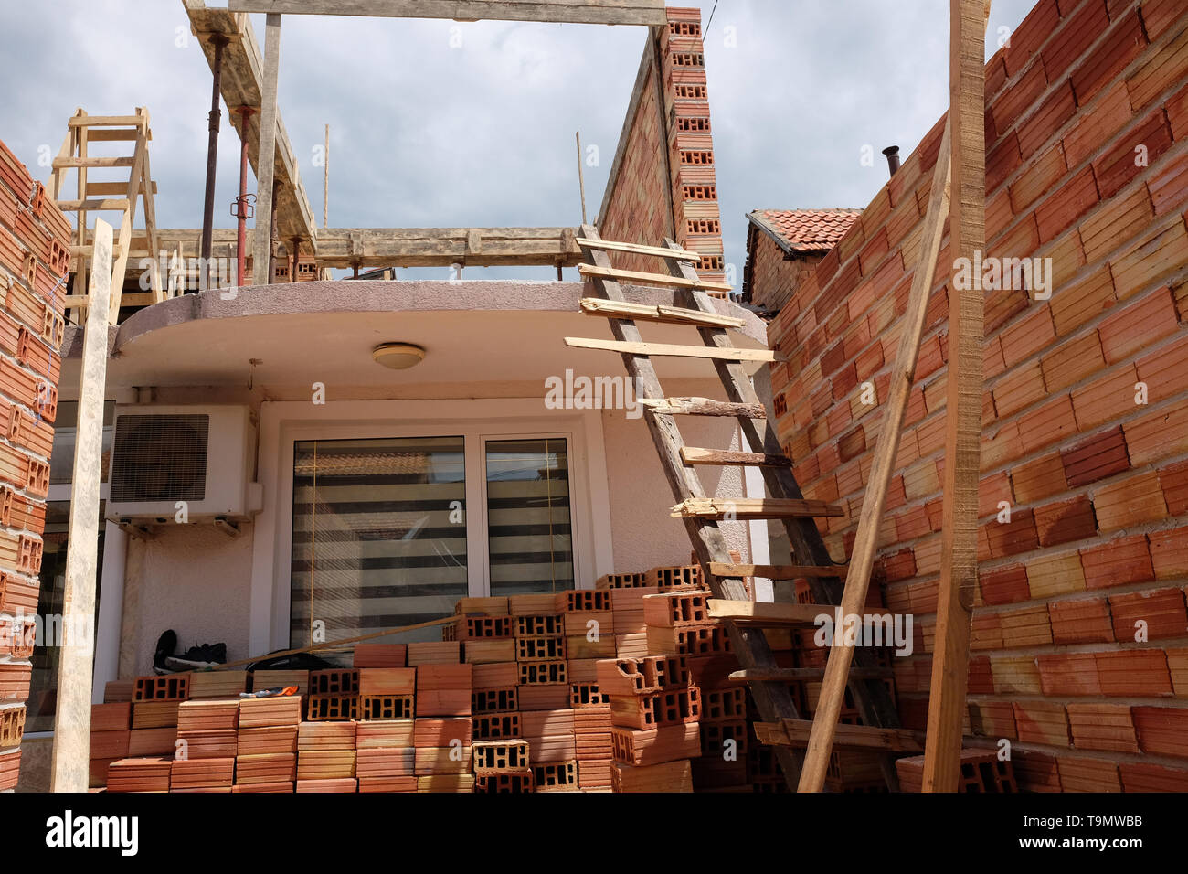May 2019 - Home made ladder being used on a small construction work site in Sliven, Bulgaria, - Stock Image