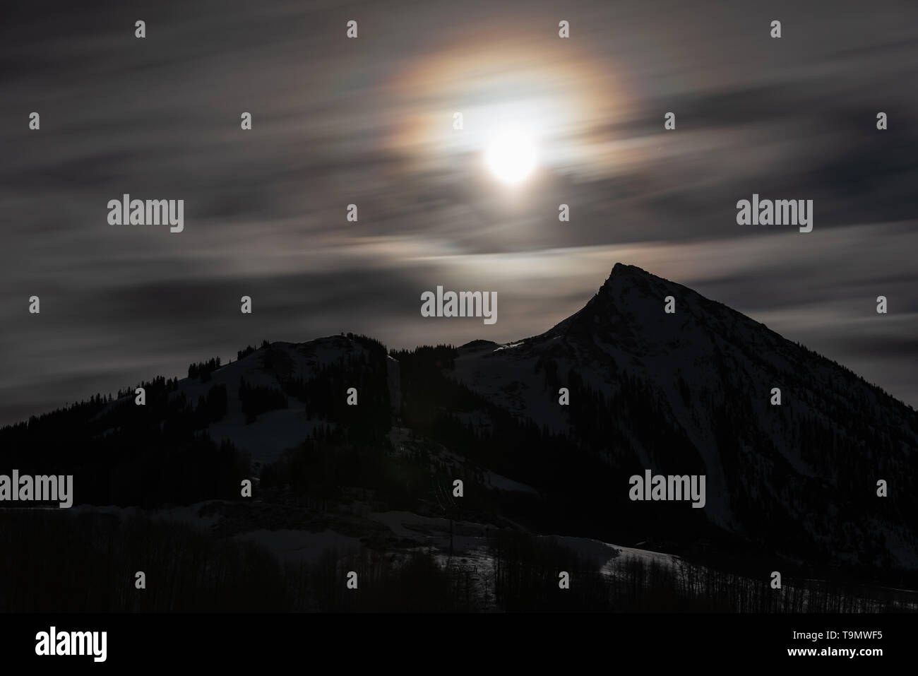 Mt. Crested Butte at night - Stock Image