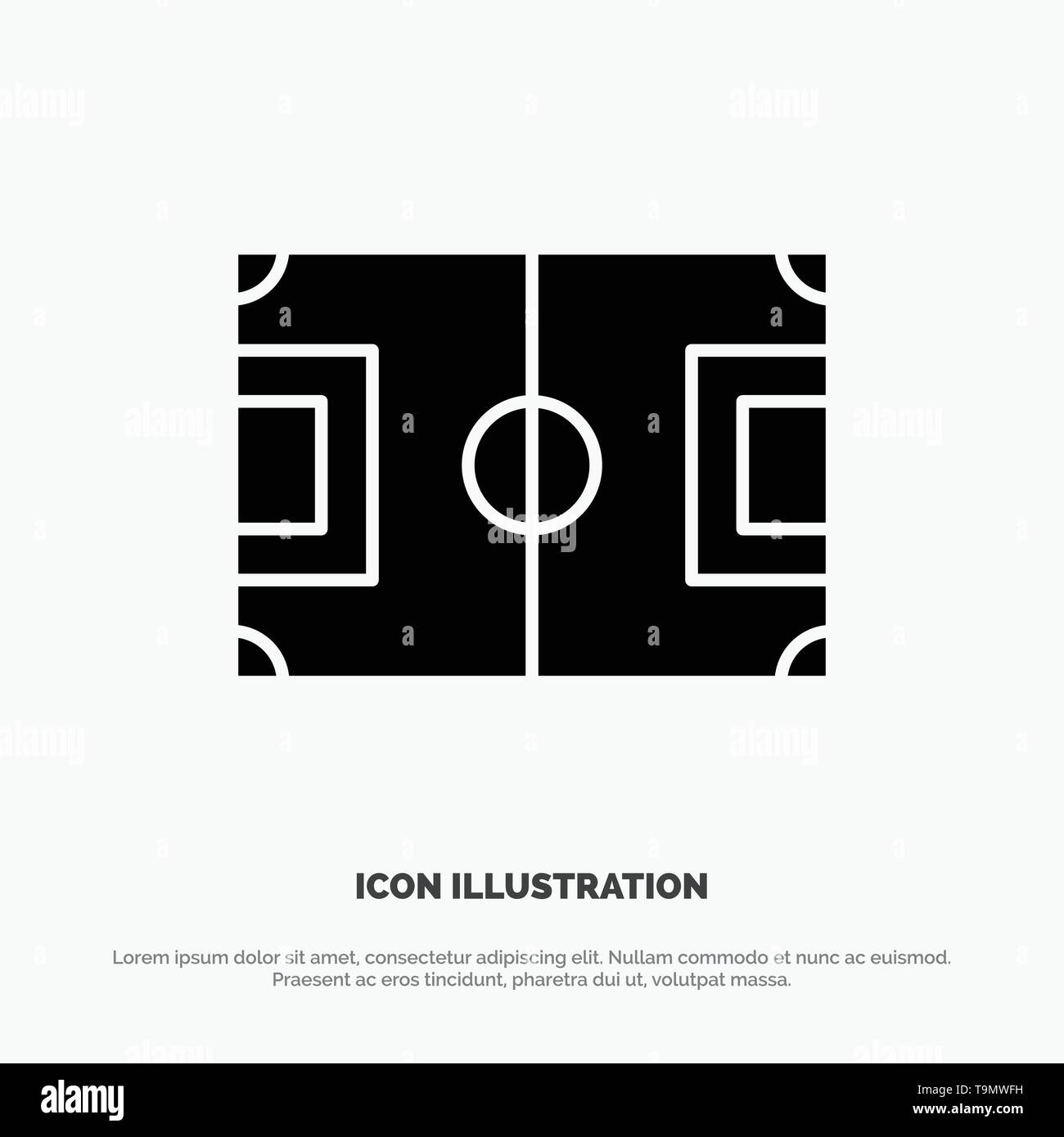 Field, Football, Game, Pitch, Soccer solid Glyph Icon vector - Stock Image