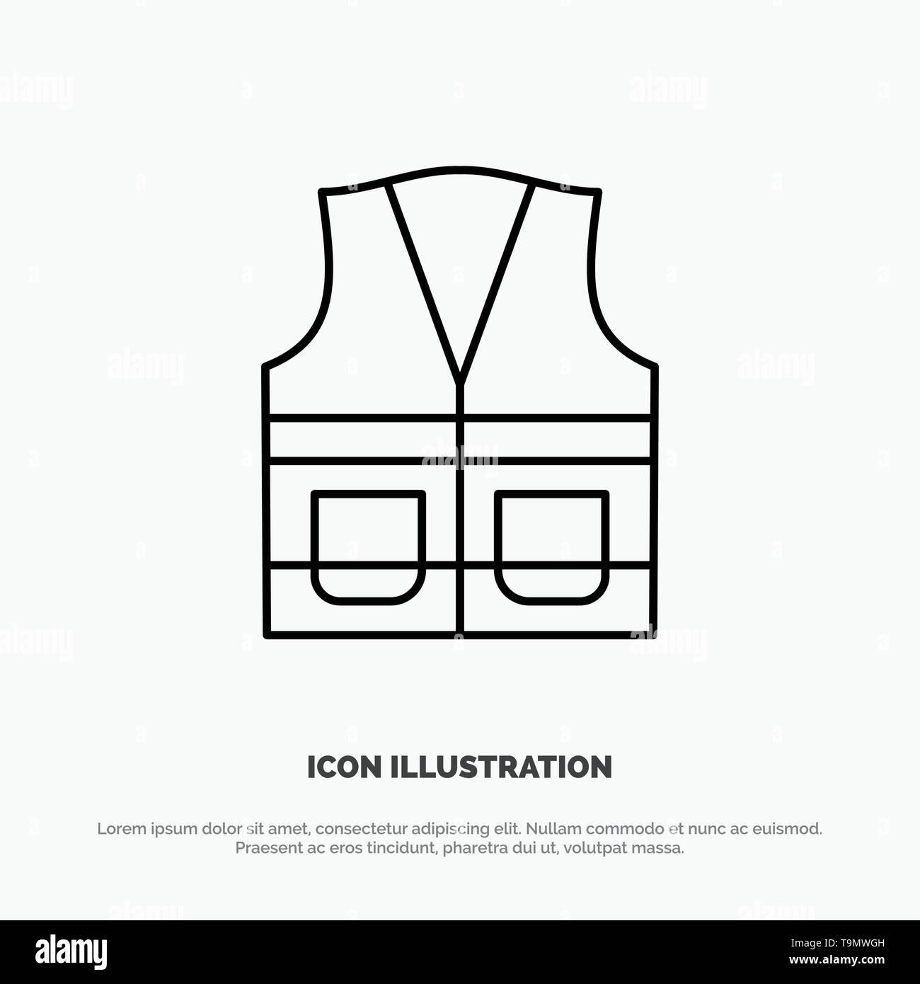Vest, Jacket, Labour, Construction, Repair Line Icon Vector - Stock Image