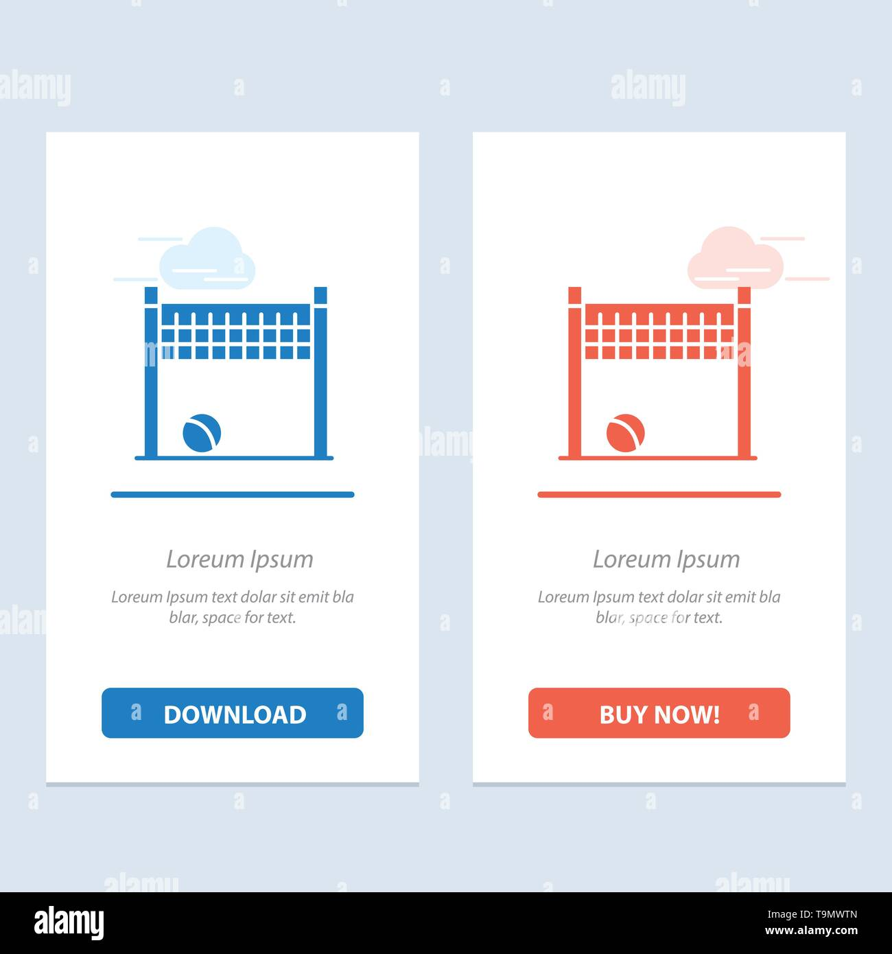 Game, Goalpost, Net, Volleyball  Blue and Red Download and Buy Now web Widget Card Template - Stock Image