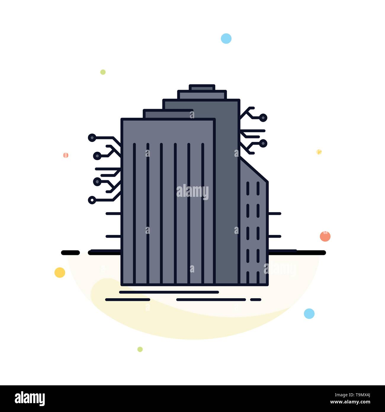 Building, Technology, Smart City, Connected, internet Flat Color Icon Vector - Stock Image