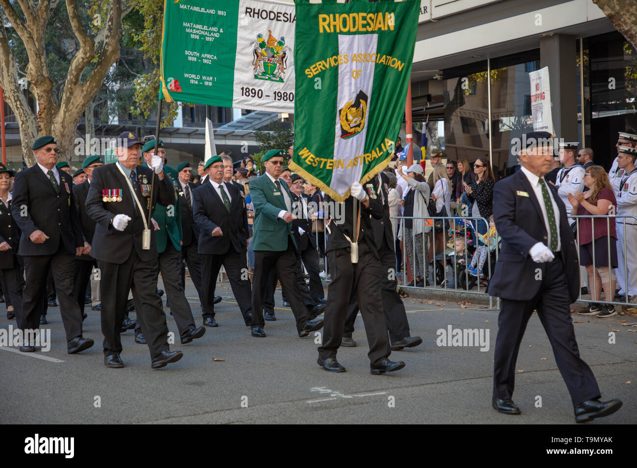 Perth, Australia. 25th April 2019. Anzac Parade in Perth WA. Australians all over the country remember those service men and women who died in conflict for their country. The day starts with a dawn service followed by an Anzac Day Parade all over the country such as here in Perth, WA. Younger participants in the parade wear the medals of their family members. Credit: Joe Kuis / Alamy - Stock Image