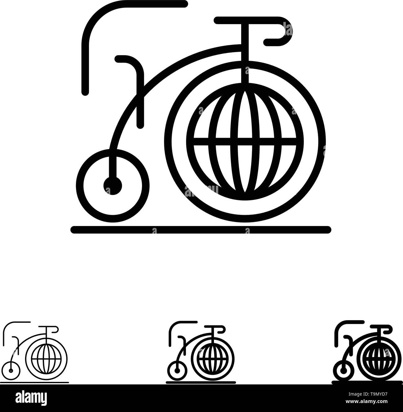 Big, Bike, Dream, Inspiration Bold and thin black line icon set - Stock Image
