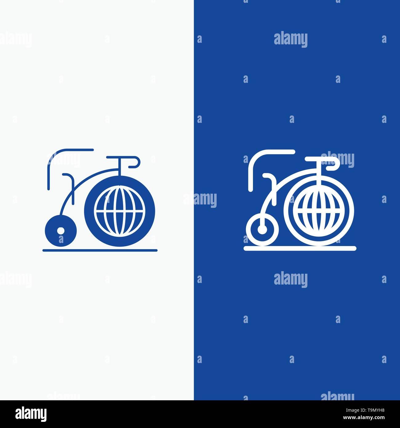 Big, Bike, Dream, Inspiration Line and Glyph Solid icon Blue banner Line and Glyph Solid icon Blue banner - Stock Image