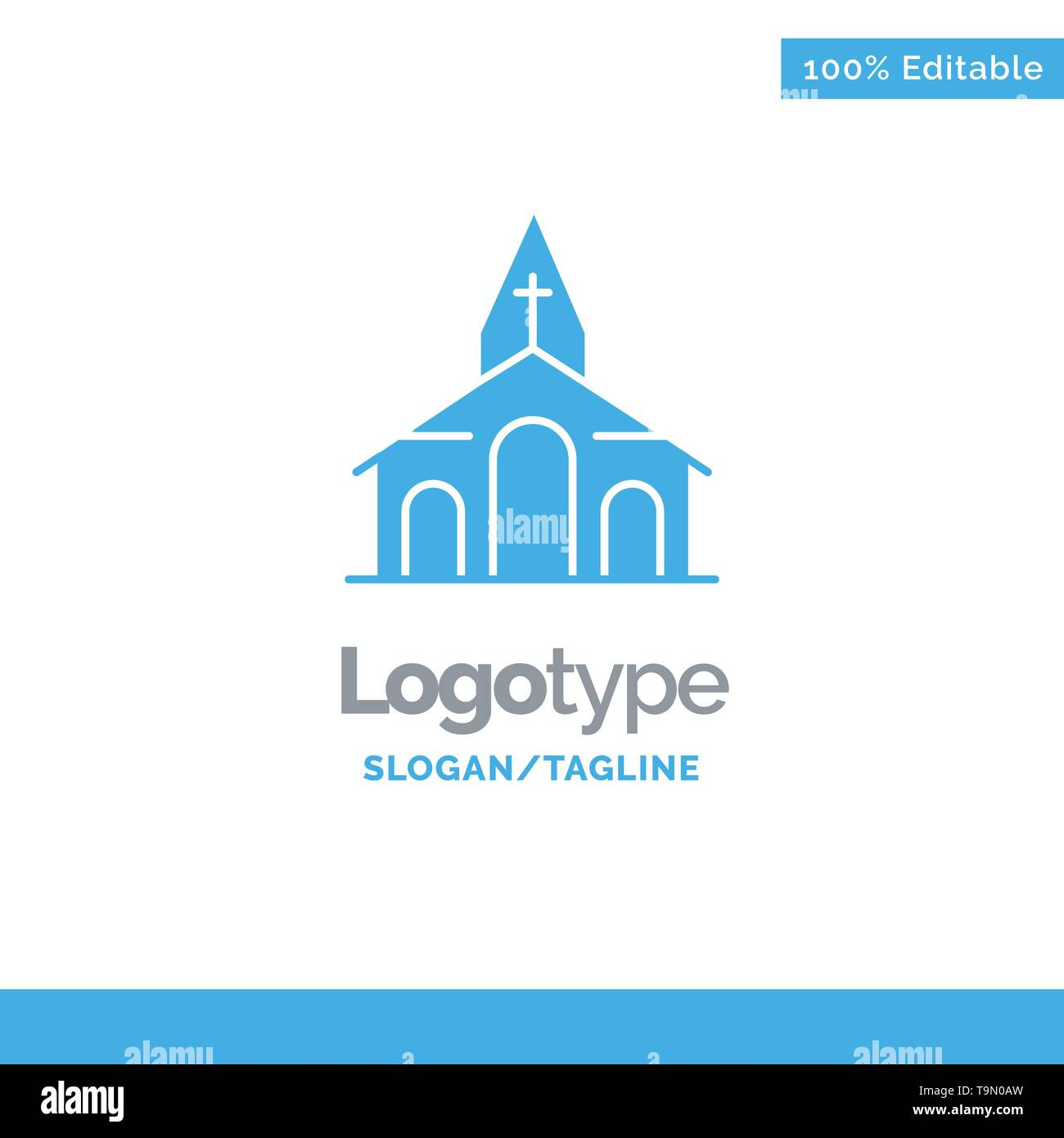 Building, Christmas, Church, Spring Blue Solid Logo Template. Place for Tagline - Stock Image