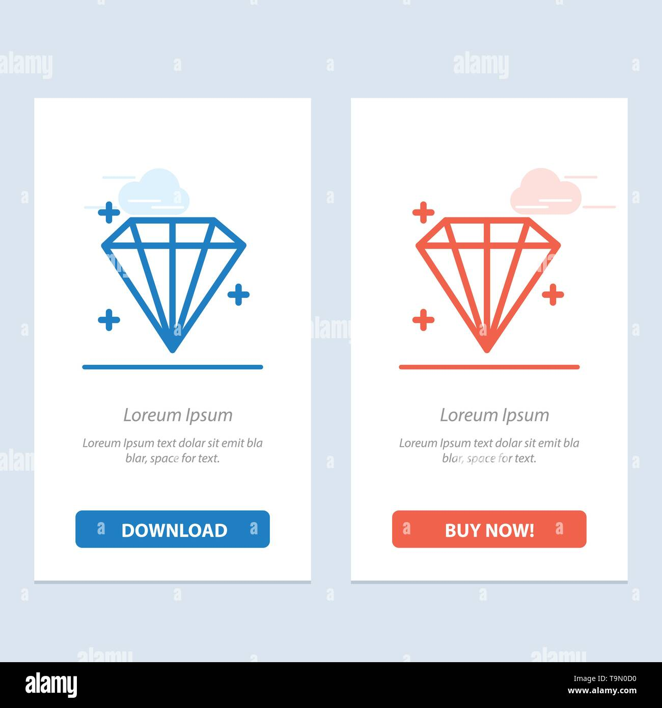 Diamond, Jewel, User  Blue and Red Download and Buy Now web Widget Card Template - Stock Image