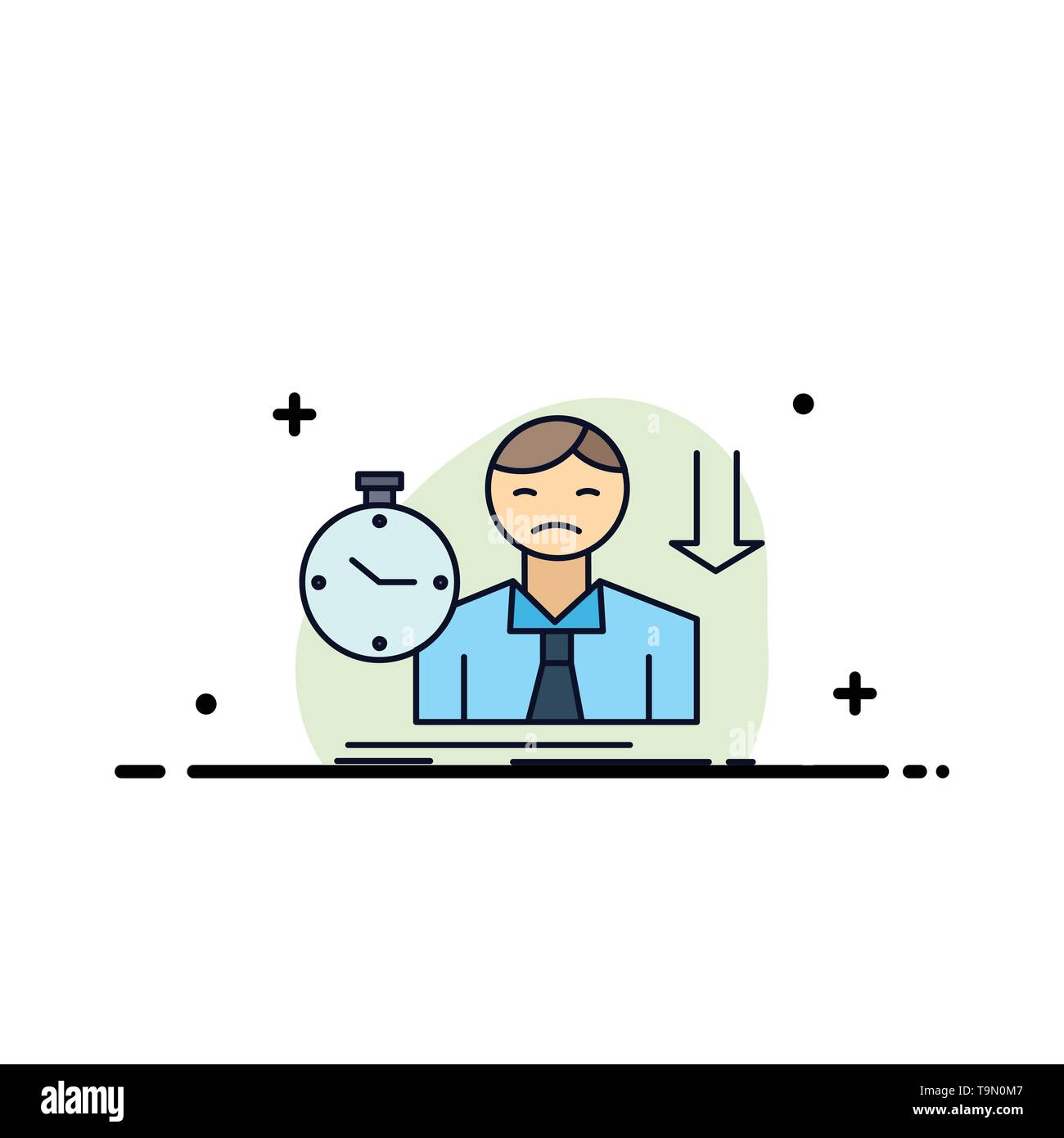 failure, fail, sad, depression, time Flat Color Icon Vector - Stock Vector