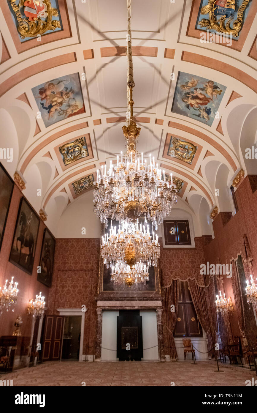 Paintings inside Royal Palace of Amsterdam in Dam Square - interior Royal Palace artwork - Dutch Palace - Palace in Amsterdam Netherlands Stock Photo