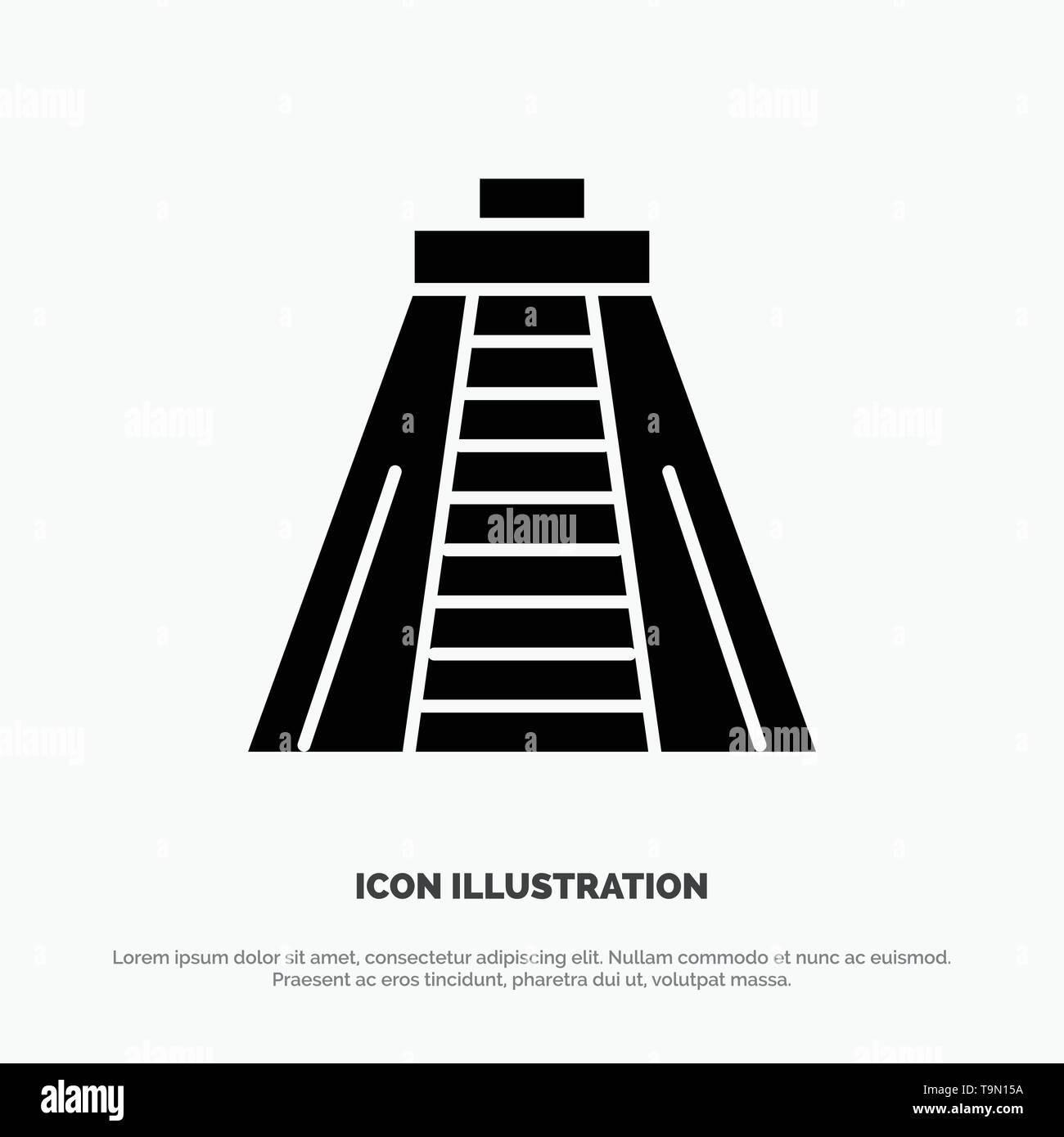Chichen Itza, Landmark, Monument Solid Black Glyph Icon - Stock Image