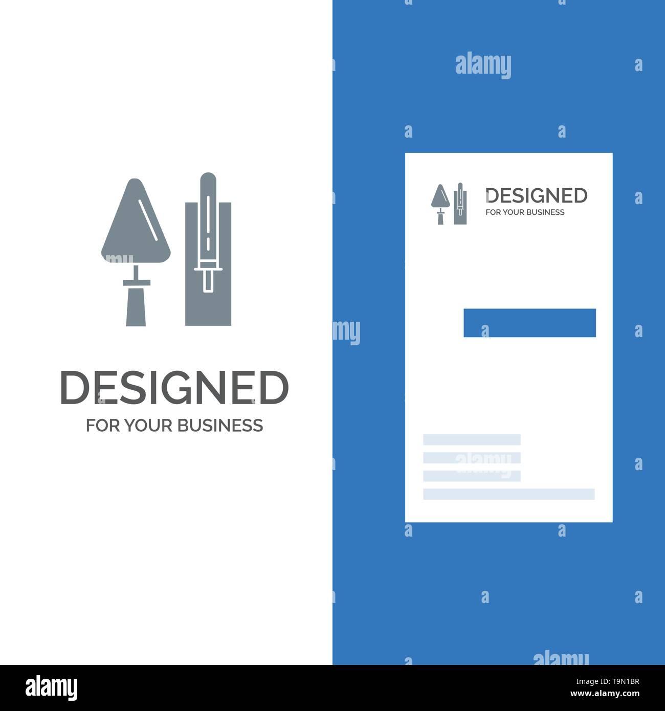 Trowel, Brickwork, Construction, Masonry, Tool Grey Logo Design and Business Card Template - Stock Image