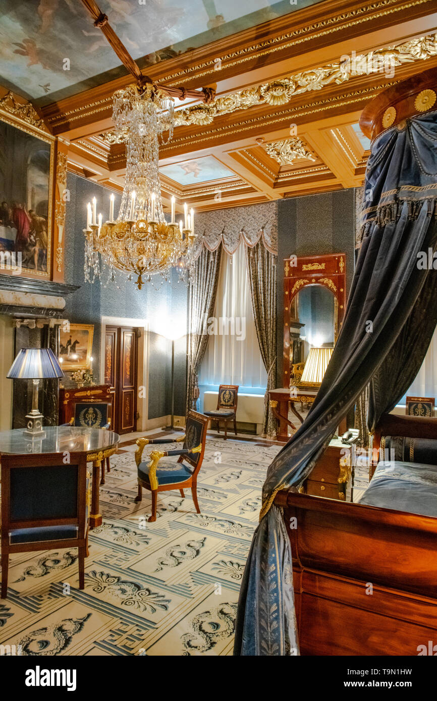 Bedroom in the Royal Palace of Amsterdam in Dam Square - interior