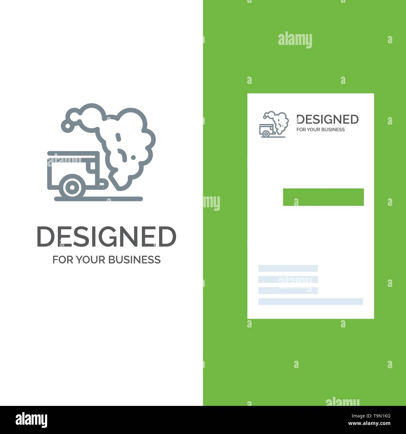 Dump, Environment, Garbage, Pollution Grey Logo Design and Business Card Template - Stock Image