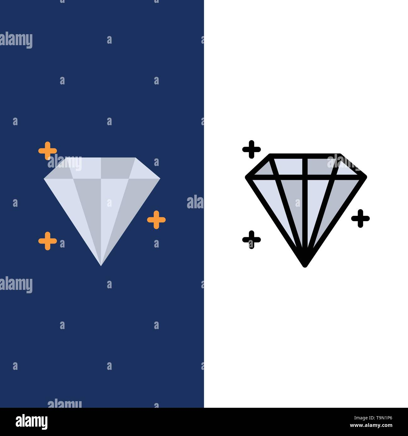 Diamond, Jewel, User  Icons. Flat and Line Filled Icon Set Vector Blue Background - Stock Image